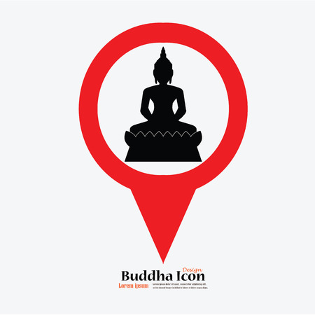 believes: Silhouette of Thai Buddha.buddha with map pointer.vector illustration.
