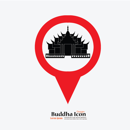 holy place: Map Pointer Icon temple  sign. Temple.vector illustration. Illustration