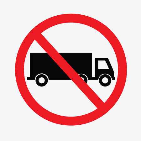 not: No truck or no parking sign.prohibit sign .vector illustration.