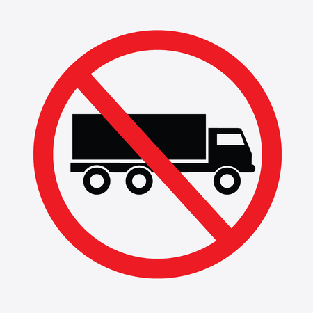 camion: Ning�n cami�n o hay aparcamiento sign.prohibit signo de vector.