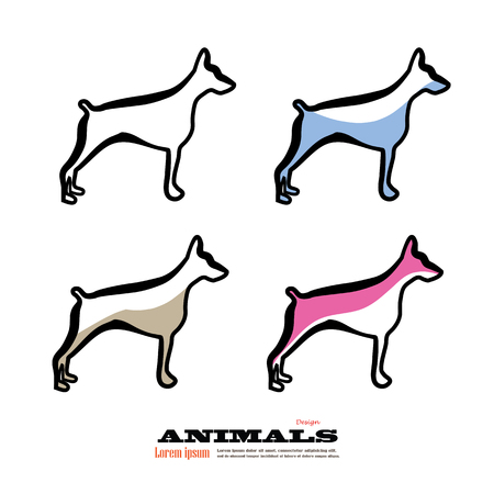 whelps: Dogs silhouettes.dog icon.dog.vector illustration Illustration