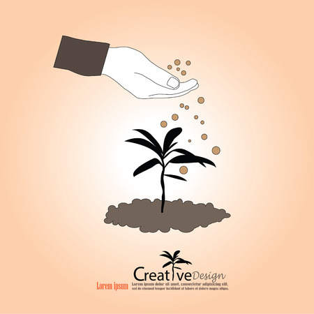 humus: hand giving fertilizer to a young plant.fertilizer plant.vector illustration. Illustration