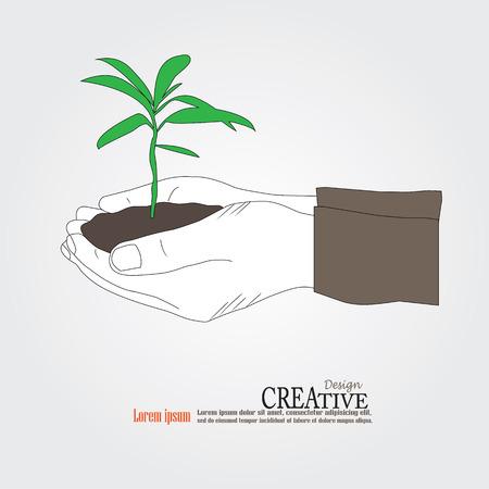 crecimiento planta: Bosquejo planta de explotación de la mano. Crecimiento concepto de ilustración vectorial.