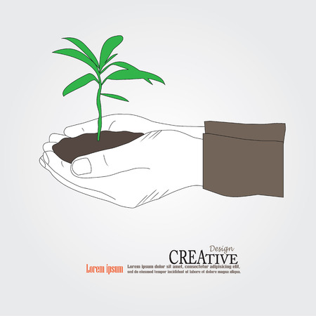 plant hand: Sketch Hand holding plant. Growth concept vector illustration.