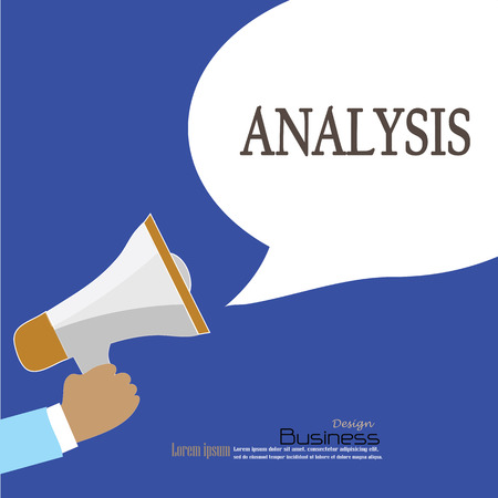 dissection: Hand holding megaphone with  analysis word.announcement background. analysis  concept. vector illustration. Illustration