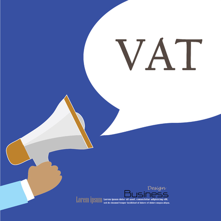 Hand holding megaphone with  vat  word.announcement background. vat concept. vector illustration. Иллюстрация
