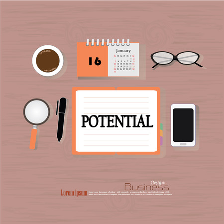 potential: Business concept.Office desk top view with  potential   word. Flat design style . office equipment, working tools and other business elements on wood background.vector illustration. Illustration