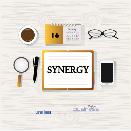 relate: Business concept.Office desk top view with  syneregy    word. Flat design style . office equipment, working tools and other business elements on wood background.vector illustration.