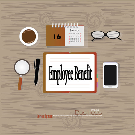 perks: Business concept.Office desk top view with  employee benefit   word. Flat design style . office equipment, working tools and other business elements on wood background.vector illustration.
