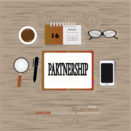 relate: Business concept.Office desk top view with  partnership word. Flat design style , office equipment, working tools and other business elements on wood background.vector illustration.