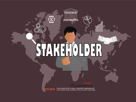stakeholder: business man point to  stakeholder  word.stakeholder concept. Vector illustration.