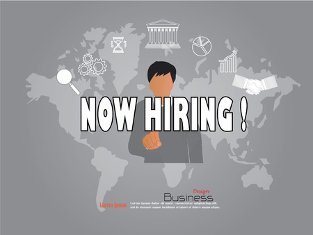 now hiring: business man point to now hiring word with business icon. now hiring  concept. Vector illustration.