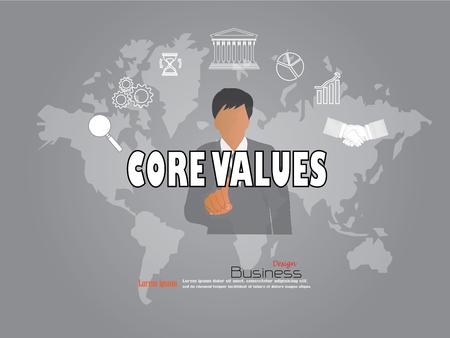 maketing: business man point to core value word with business icon. core value concept. Vector illustration. Illustration