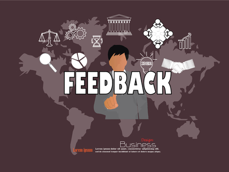 criticism: business man point to feedback  word with business icon. feedback concept. Vector illustration.