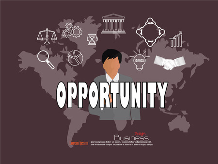 opportunity concept: business man point to opportunity  word with business icon. opportunity concept. Vector illustration.