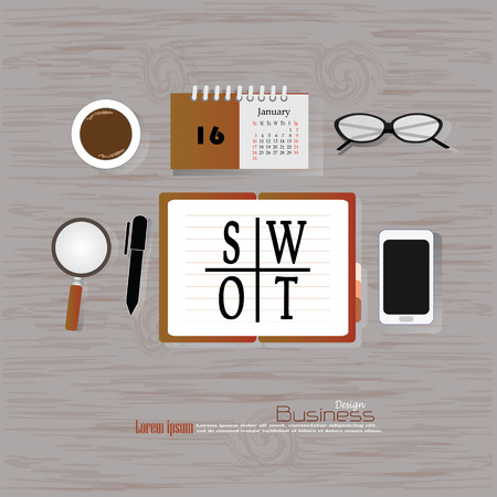 SWOT  concept.Office desk top view with  SWOT word. Flat design style . office equipment, working tools and other business elements on wood background.vector illustration.