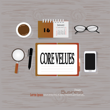 maketing: core values  concept.Office desk top view with  core values  word. Flat design style . office equipment, working tools and other business elements on wood background.vector illustration.
