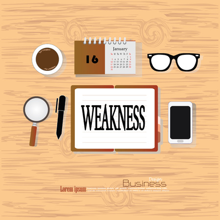 weakness: weakness  concept.Office desk top view with  weakness  word. Flat design style . office equipment, working tools and other business elements on wood background.vector illustration.
