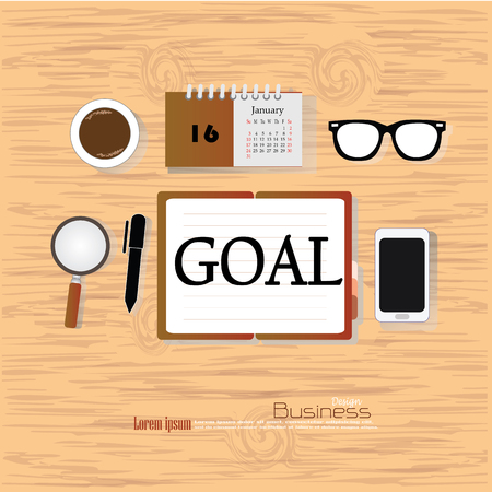 goal concept.Office desk top view with  goal  word. Flat design style . office equipment, working tools and other business elements on wood background.vector illustration.