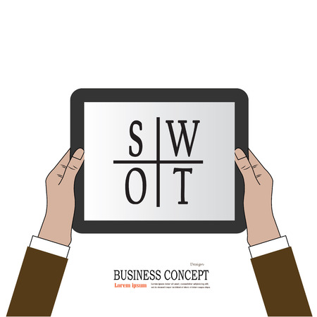 color theory: Business man hold tablet with  SWOT .SWOT  concept. vector illustration.