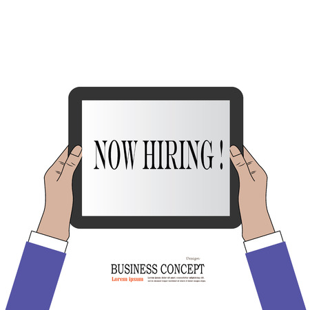 job hunting: Business man hold tablet with Hiring. hiring concept. vector illustration.