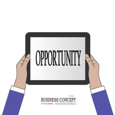 opportunity concept: Business man hold tablet with opportunity .opportunity concept. vector illustration.