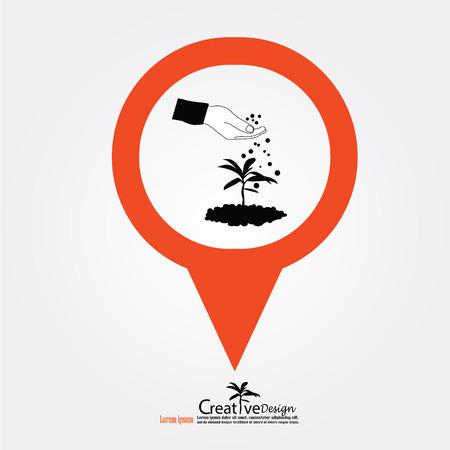 fertilizing: hand giving fertilizer to plant with map pointer.fertilizer plant.eco concept.vector illustration.