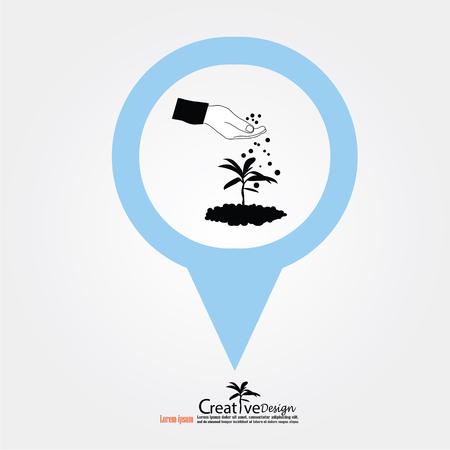 humus: hand giving fertilizer to plant with map pointer.fertilizer plant.eco concept.vector illustration.