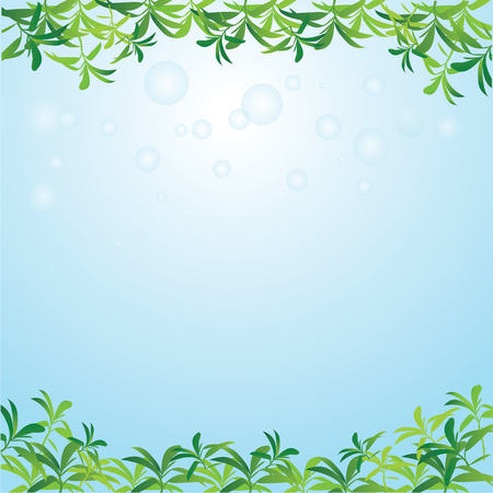 greenness: Leaves frame on   background with bubbles.vector illustration.