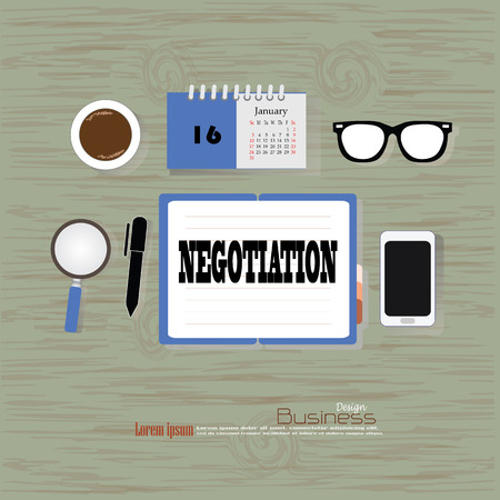 compromise: negotiation concept. Office desk top view with  negotiation  word. Flat design style . office equipment, working tools and other business elements on wood background.vector illustration.