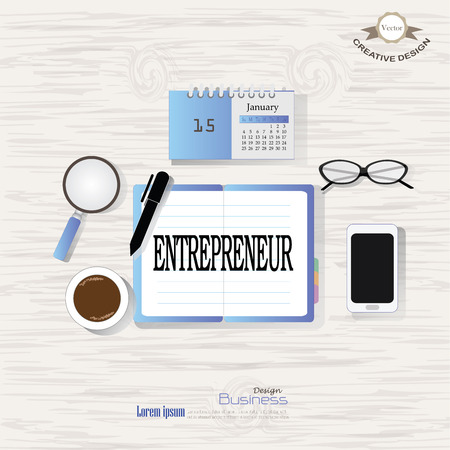 originality: Business concept.Office desk top view with entrepreneur  word. Flat design style , office equipment, working tools and other business elements on wood background.vector illustration.