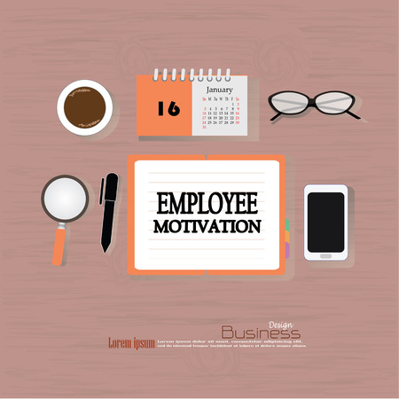 induce: Business concept.Office desk top view with  employee motivation   word. Flat design style . office equipment, working tools and other business elements on wood background.vector illustration.
