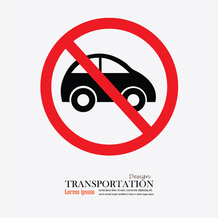 prohibit: No car or no parking traffic sign,prohibit sign.vector illustration Illustration