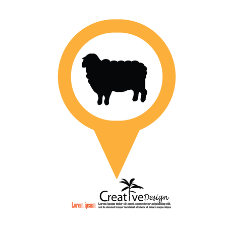 appear: Sheep icon with map pointer.sheep.vector illustration.