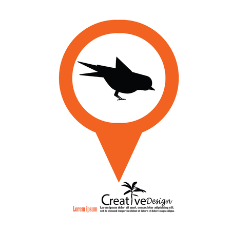 appear: Bird.bird vector with map pointer.vector illustration. Illustration