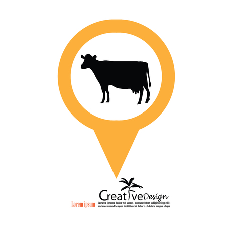appear: cattle.cow vector with map pointer.bull.vector illustration.
