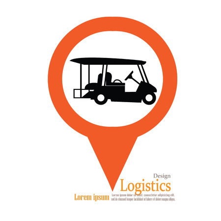golf cart: Golf cart .golf car with map pointer.vector illustration.