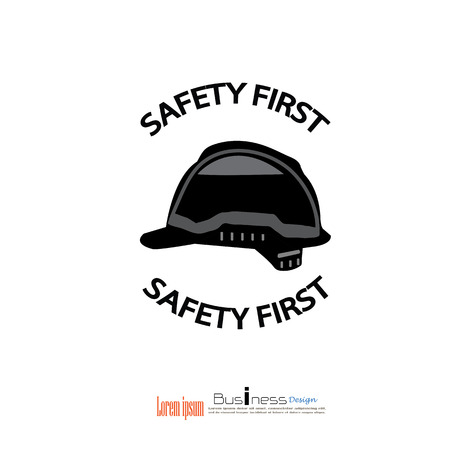 safety first: safety first concept,safety first,safety hat.vector illustrator