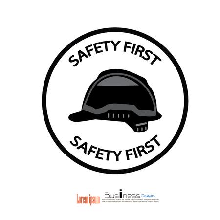 safety: safety first concept,safety first,safety hat.vector illustrator