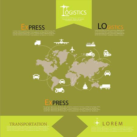 global logistics: Logistics technology concept.logistics connection on world map. Vector illustration.