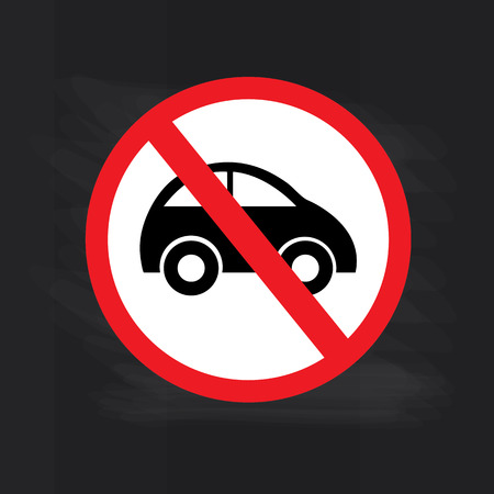 obedecer: Sin coche o ninguna señal de tráfico de estacionamiento en la pizarra, prohíben la ilustración sign.vector
