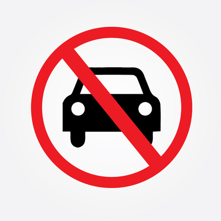 parking is prohibited: No car or no parking traffic sign,prohibit sign.vector illustration Illustration