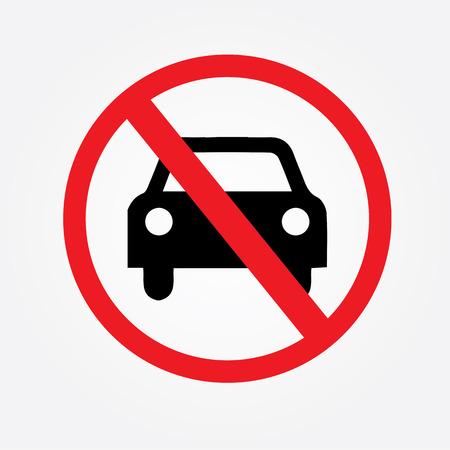 Pas de voiture ou pas de panneau de signalisation de stationnement, interdisent sign.vector illustration