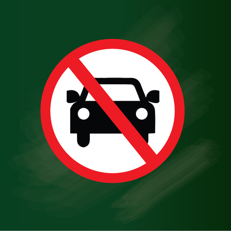 obedecer: Sin coche o ninguna se�al de tr�fico de estacionamiento en la pizarra, proh�ben la ilustraci�n sign.vector