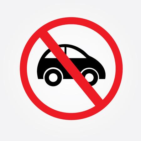 obedecer: Ningún coche o ninguna señal de tráfico de estacionamiento, prohíben ilustración sign.vector Vectores