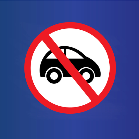 parking is prohibited: No car or no parking traffic sign on chalkboard,prohibit sign.vector illustration