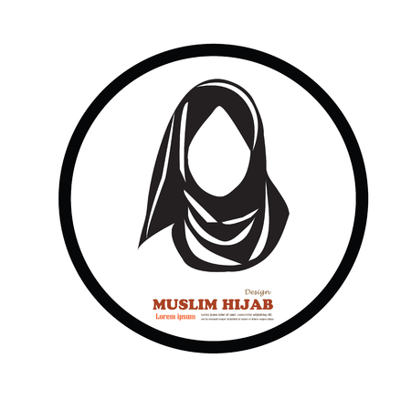 asian girl face: Muslim woman  icon with hijab. Asian muslim traditional  hijab.islam woman sign.vector illustration.