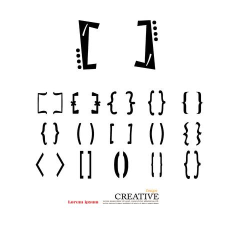 brackets: Bracket.brace. curly brackets icon vector.  vector illustrator Illustration