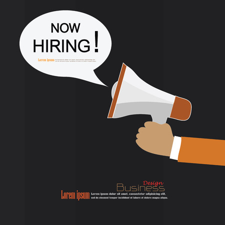 labor market: We Are Hiring.hand hold megaphone with we are hiring word on chalkboard.recruitment concept.vector illustration.