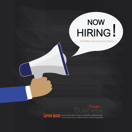 recruitment: We Are Hiring.hand hold megaphone with we are hiring word on chalkboard.recruitment concept.vector illustration.